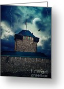 Chivalry Greeting Cards - Castle Burg Greeting Card by Angela Doelling AD DESIGN Photo and PhotoArt