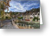 Old England Greeting Cards - Castle Combe England Greeting Card by Ann Garrett