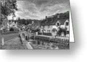 Old England Greeting Cards - Castle Combe England Monochrome Greeting Card by Ann Garrett