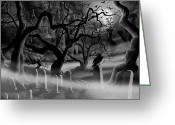 Castle Painting Greeting Cards - Castle Graveyard I Greeting Card by James Christopher Hill