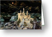 Knights Castle Painting Greeting Cards - Castle Greeting Card by Gwen Rose