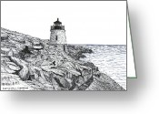 Historic Lighthouse Drawings Greeting Cards - Castle Hill Lighthouse Greeting Card by Frederic Kohli