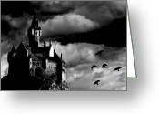 Vampire Greeting Cards - Castle in the sky Greeting Card by Bob Orsillo