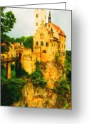 Impressionist Art Greeting Cards - Castle in The Sky . Long Cut Greeting Card by Wingsdomain Art and Photography