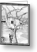 Stippling Greeting Cards - Castle In The Tree - A Childhood Dream Greeting Card by Glenn McCarthy Art and Photography