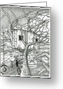 Illustrative Drawings Greeting Cards - Castle In The Tree 2 - Hand Finished Edition Greeting Card by Glenn McCarthy Art and Photography