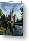Disney Greeting Cards - Castle Reflections Greeting Card by Nora Martinez