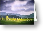 Castle Painting Greeting Cards - Castle Rigg Stone Circle Greeting Card by Paul Dene Marlor