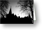 Battlement Greeting Cards - Castle Silhouette Greeting Card by Semmick Photo