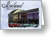 Colorful Buildings Greeting Cards - Castle Square Athlone Ireland Greeting Card by Teresa Mucha