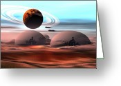 Spacecraft Greeting Cards - Castles in the Sand Greeting Card by Corey Ford