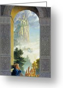 Blue Blocks Greeting Cards - Castles in the Sky Greeting Card by Greg Olsen