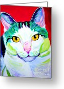Dawgart Greeting Cards - Cat - Zooey Greeting Card by Alicia VanNoy Call