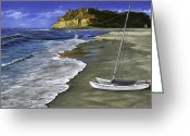 Reinhardt Greeting Cards - Cat and Dog Beach Greeting Card by Lisa Reinhardt