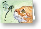 Insect Greeting Cards - Cat and Dragonfly  Greeting Card by Svetlana Ledneva-Schukina