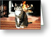 In Focus Greeting Cards - Cat and Hearth Greeting Card by Valerie Rakes