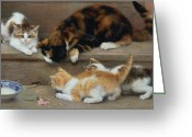 Pussy Greeting Cards - Cat and kittens chasing a mouse   Greeting Card by Rosa Jameson