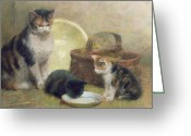 Kitty Greeting Cards - Cat and Kittens Greeting Card by Walter Frederick Osborne