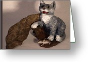 Nature Sculpture Greeting Cards - Cat and Mice main view Greeting Card by Katherine Howard