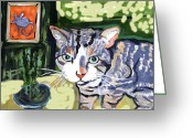 Animal Ceramics Greeting Cards - Cat And Mouse Friends Greeting Card by Patricia Lazar