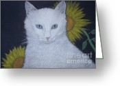 Kitten Pastels Greeting Cards - Cat and Sunflowers Greeting Card by Cybele Chaves