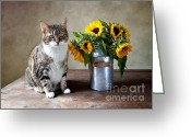 Yellow Photo Greeting Cards - Cat and Sunflowers Greeting Card by Nailia Schwarz