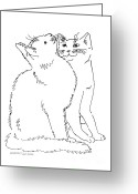 Ink Posters Drawings Greeting Cards - Cat-Art-Curious Greeting Card by Gordon Punt