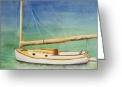 Sailing Cat Greeting Cards - Cat Boat Greeting Card by Ruth Bailey