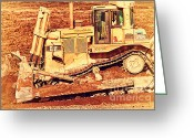 Old Postcards Greeting Cards - CAT Bulldozer . 7D10945 Greeting Card by Wingsdomain Art and Photography