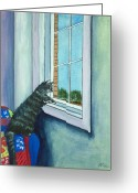 Glass Drawings Greeting Cards - Cat By The Window Greeting Card by Anastasiya Malakhova