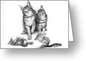 Charcoal Greeting Cards - Cat Chips  Greeting Card by Peter Piatt