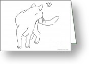 Ink Posters Drawings Greeting Cards - Cat-Drawings-Black-White-2 Greeting Card by Gordon Punt