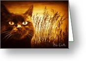 Black Cat Greeting Cards - Cat Dreams Greeting Card by Bob Orsillo