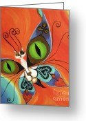 Antennae Painting Greeting Cards - Cat-eyes Butterfly Greeting Card by Melina Mel P