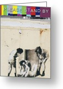 Nude Mixed Media Greeting Cards - Cat Fight Greeting Card by Michel  Keck