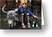 3d Graphic Greeting Cards - Cat Girl Greeting Card by Jutta Maria Pusl