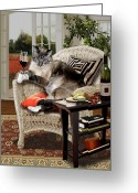 Wicker Chair Greeting Cards - Cat happy hour Greeting Card by Gina Femrite