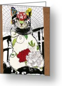 Collage Mixed Media Greeting Cards - Cat I Greeting Card by Michel  Keck