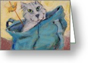 Friendly Pastels Greeting Cards - Cat in a Bag Greeting Card by Barbara Torke