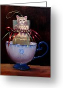 Jack-in-the-box Greeting Cards - Cat in a Cup Greeting Card by Loretta Fasan