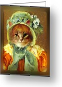 Cassatt Greeting Cards - Cat in Bonnet Greeting Card by Gravityx Designs