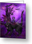 Bat Mixed Media Greeting Cards - Cat In Goth Witch Hat Greeting Card by Carol Cavalaris
