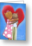 Childsroom Greeting Cards - Cat in Love Greeting Card by Sonja Mengkowski
