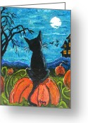 Haunted House Print Greeting Cards - Cat in Pumpkin Patch Greeting Card by Paintings by Gretzky