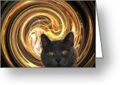 Zsuzsa Balla Greeting Cards - Cat in spiral of life Greeting Card by Zsuzsa Balla