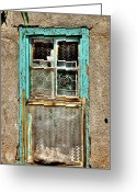 Santa Fe Greeting Cards - Cat in the Window Greeting Card by David Patterson