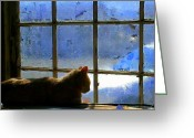 Window Panes Greeting Cards - Cat in the Window Greeting Card by Randall Weidner
