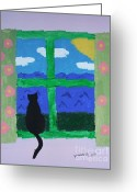 Black Widow Painting Greeting Cards - Cat in Window Greeting Card by Jeannie Atwater Jordan Allen