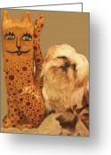 Woodcarving Reliefs Greeting Cards - Cat Greeting Card by James Neill