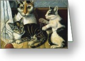 Yarn Greeting Cards - Cat & Kittens Greeting Card by Granger